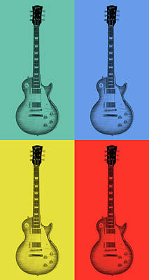 Mixed Media - Gibson Guitar Pop Art by Dan Sproul