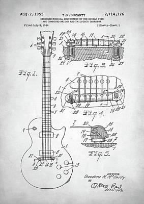 Guitar Player Digital Art - Gibson Les Paul Electric Guitar Patent by Taylan Apukovska