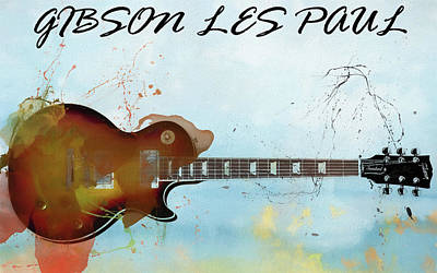 Music Mixed Media - Gibson Les Paul Guitar by Dan Sproul