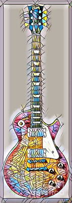 Single Edition Digital Art - Gibson Les Paul Guitar - Stained Glass by Scott D Van Osdol
