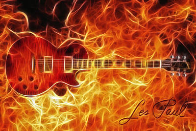 Jimmy Page Digital Art - Gibson Les Paul by Zapista