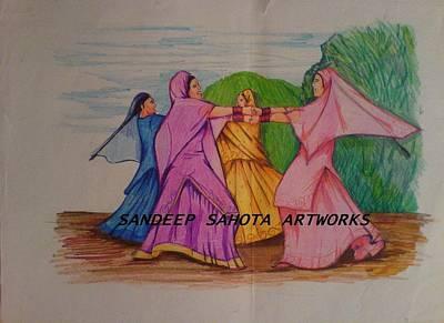 Kama Sutra Painting - Giddha Panjab Da by Sandeep Kumar Sahota