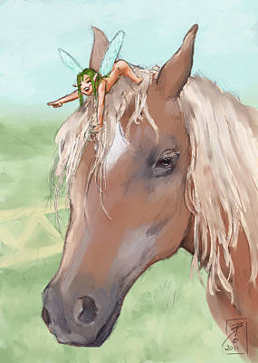 Horse Lovers Drawing - Giddy Up by Brandy Woods