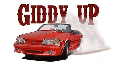Giddy Up Ford Mustang Art Print
