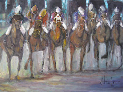 Kentucky Derby Painting - Giddy Up by Jeff Hunter
