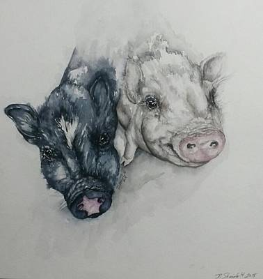 Potbelly Pig Painting - Gideon And Asher by Dianne Shoenfelt