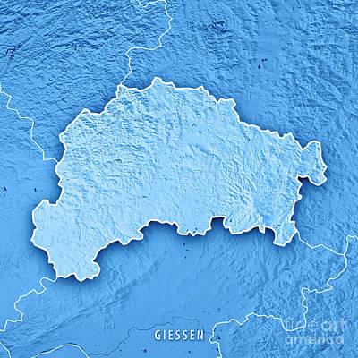 Digital Art - Giessen Regierungsbezirk Hessen 3d Render Topographic Map Blue B by Frank Ramspott