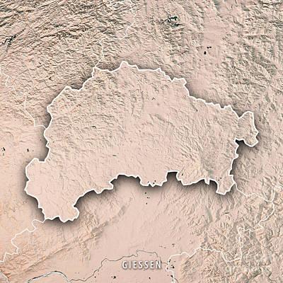 Digital Art - Giessen Regierungsbezirk Hessen 3d Render Topographic Map Neutra by Frank Ramspott