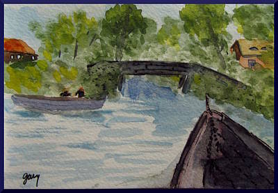 Nederland Painting - Giethoorn Boat Approaches Bridge by Gary Kirkpatrick