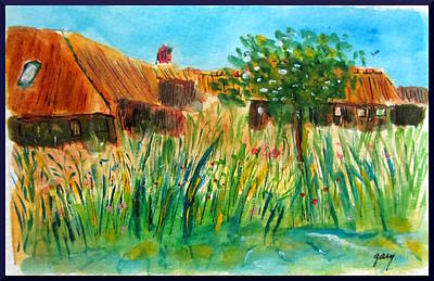 Nederland Painting - Giethoorn- Two Houses Thatched Roofs by Gary Kirkpatrick