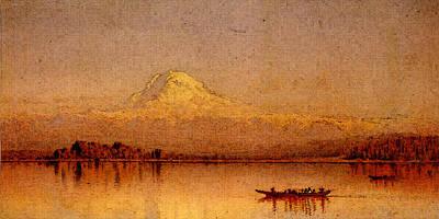 Digital Art - Gifford Sanford Robinson Mount Rainier Bay Of Tacoma by Sanford Robinson Gifford