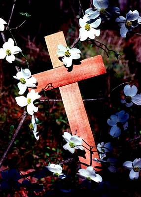 Photograph - Gift Cross And Dogwood by John Foote