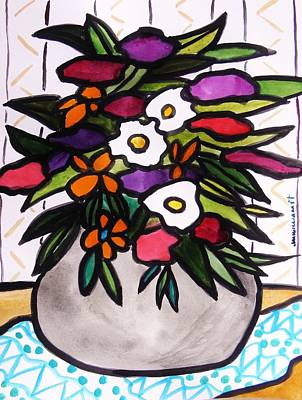 Simplicity Drawing - Gift In A Gray Vase by John Williams