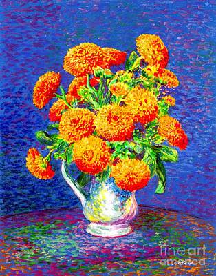 Gift Of Gold, Orange Flowers Print by Jane Small