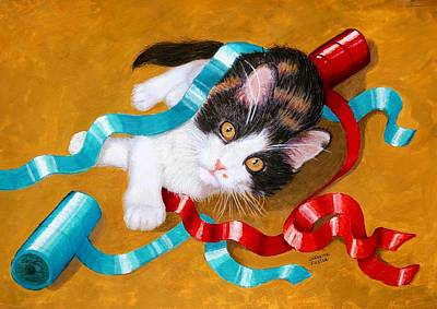 Gift Wrapped Kitty Original by Lorraine Foster