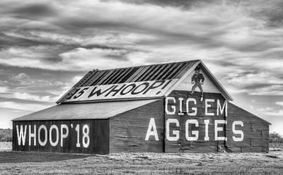 Photograph - Gig Em Aggies Black And White by JC Findley