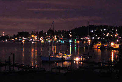 Photograph - Gig Harbor At Night by Jack Moskovita