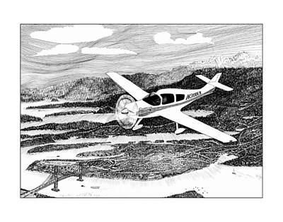 Drawing - Flying Over Gig Harbor  by Jack Pumphrey