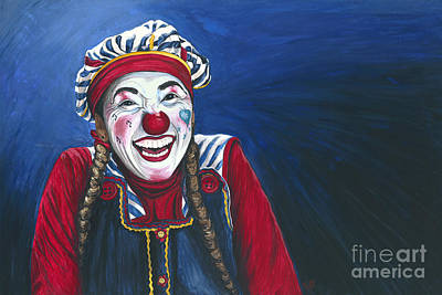 Clown Art Painting - Giggles The Clown by Patty Vicknair