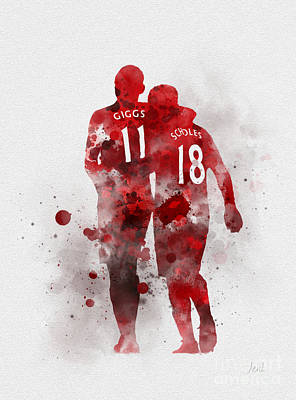 England Mixed Media - Giggsy And Scholesy by Rebecca Jenkins