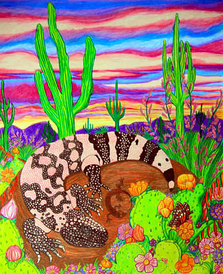 Gila Monster In Desert Art Print by Nick Gustafson