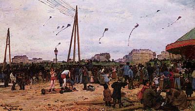 Digital Art - Gilbert Vg The Fairgrounds At Porte De Clignancourt by Victor Gabriel Gilbert