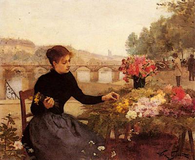 Digital Art - Gilbert Victor A Parisian Flower Market by Victor Gabriel Gilbert