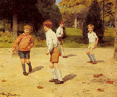 Digital Art - Gilbert Victor Boys Playing by Victor Gabriel Gilbert