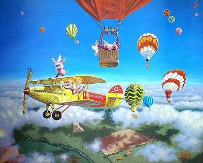 Flying Pig Painting - Gilbert's Risky Business by Michael Jones