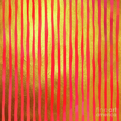 Abstract Digital Painting - Gilded Cage II Gilt Gold Foil Stripes Over by Tina Lavoie