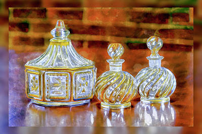 Photograph - Gilded Cut Crystal Glassware by Betty Denise