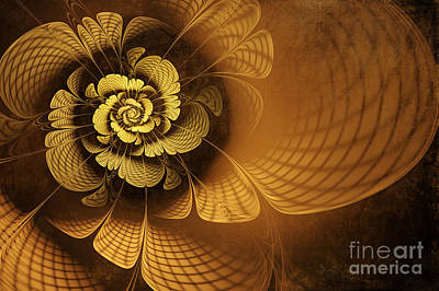 Abstract Digital Digital Art - Gilded Flower by John Edwards