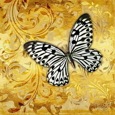 Flutter Painting - Gilded Garden A Butterfly Amidst Golden Floral Shapes by Tina Lavoie