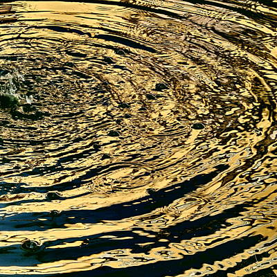 Photograph - Gilded Water - Golden Wavelets by Elena Schaelike