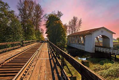 Photograph - Gilkey Covered Bridge Over Thomas Creek by David Gn