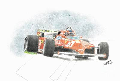 Benetton Wall Art - Drawing - Gilles Villeneuve As Usual by Lorenzo Benetton