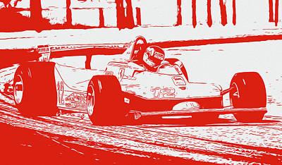 Painting - Gilles Villeneuve - Red Ferrari  by Andrea Mazzocchetti
