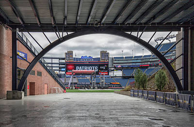 Gillette Stadium Photograph - Gillette Stadium And The Four Super Bowl Banners by Brian MacLean
