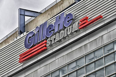 Photograph - Gillette Stadium Sign by Mike Martin