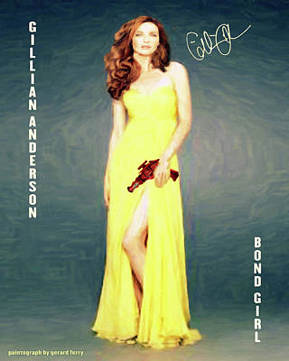 Gillian Digital Art -  Gillian Anderson Bond Girl by Gerard Ferry