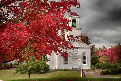Photograph - Gilmanton Church Under Fiery Fall Colors by Jeff Folger