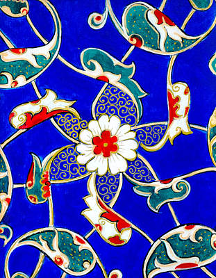 Ceramic Art Tile Painting - Gilted Blue Floral by Pamir Thompson