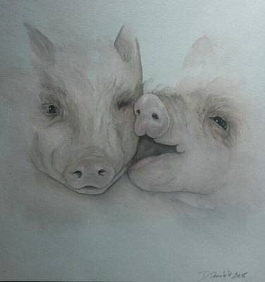 Piggies Painting - Gimme A Kiss by Dianne Shoenfelt