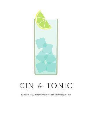 Food And Drink Mixed Media - Gin And Tonic Classic Cocktail - Minimalist Print by Studio Grafiikka