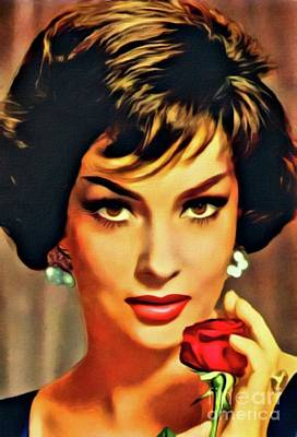 Gina Lollobrigida, Vintage Hollywood Actress. Digital Art By Mb Art Print