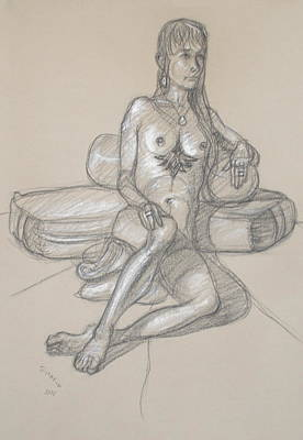 Drawing - Gina Seated 2 by Donelli  DiMaria