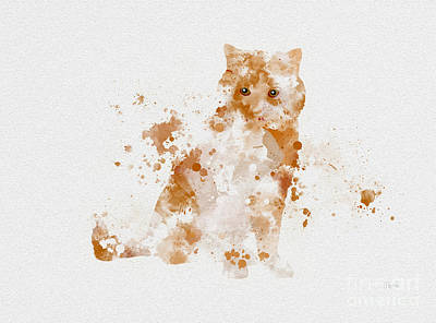 Kittens Mixed Media - Ginger And White Cat by Rebecca Jenkins