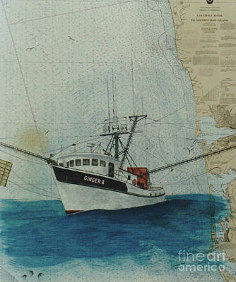 Chart Painting - Ginger B Shrimp Fishing Boat Nautical Chart Map by Cathy Peek