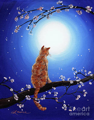 Visionary Art Painting - Ginger Cat In Blue Moonlight by Laura Iverson