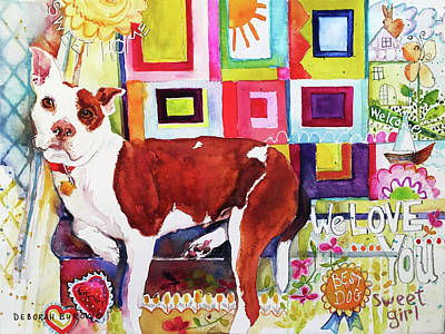 Block Quilts Painting - Ginger by Deborah Burow